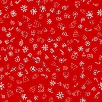 Patrón sin fisuras de año nuevo con adorno de navidad santa claus dulces de copo de nieve sobre fondo rojo