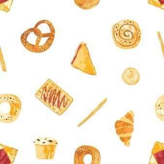 Patrón sin fisuras con apetitosos panes, pasteles dulces horneados y postres hechos de masa de varios tipos