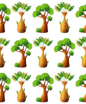Patrón sin fisuras de árbol de dibujos animados