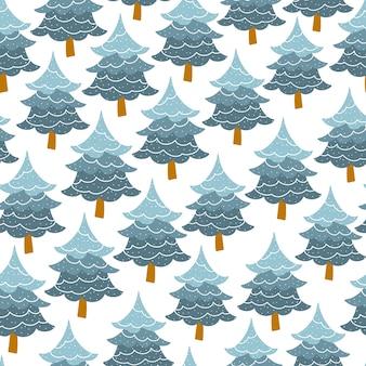 Patrón sin fisuras de árbol de navidad. bosque de abetos.