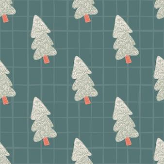 Patrón sin fisuras con el árbol de navidad gris sobre fondo verde. invierno.