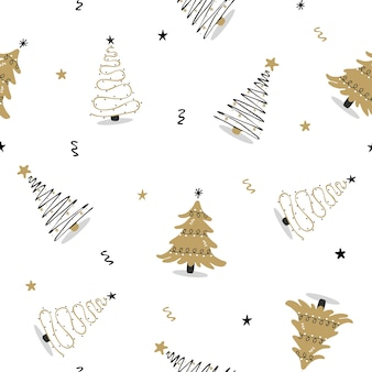 Patrón sin fisuras con árbol de navidad negro y dorado.
