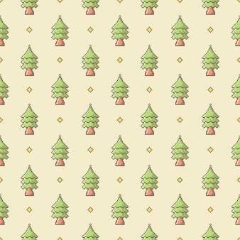 Patrón sin fisuras de árbol de pino de pixel