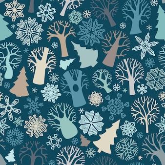 Patrón sin fisuras de árboles y copos de nieve sobre fondo azul oscuro