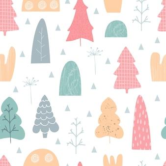 Patrón sin fisuras con árboles dibujados a mano, colores pastel