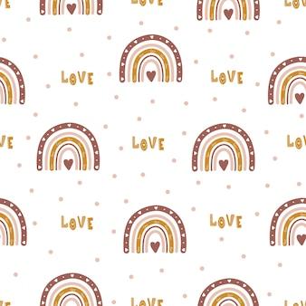 Patrón sin fisuras con arco iris abstracto y corazones.