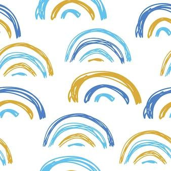 Patrón sin fisuras con arco iris y corazones decoración moderna de estilo doodle a mano alzada