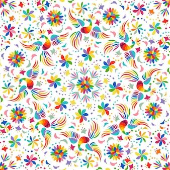 Patrón sin fisuras de arco iris mexicano con pájaros y flores.