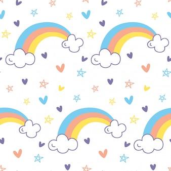 Patrón sin fisuras de arco iris en vector de estilo doodle