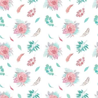 Patrón sin fisuras de arreglo floral. hojas de palmeras tropicales, rosas de la pampa, ramas de eucalipto, vegetación sobre fondo blanco.