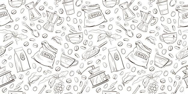 Patrón sin fisuras de artículos de café