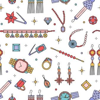 Patrón sin fisuras con artículos de joyería de moda en blanco