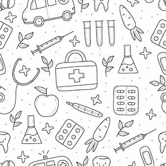 Patrón sin fisuras de artículos médicos en estilo doodle
