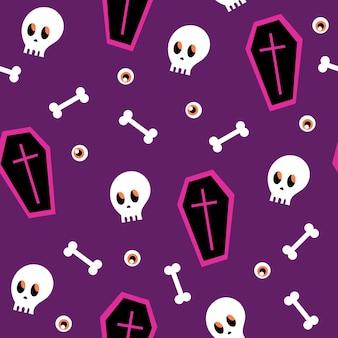 Patrón sin fisuras - ataúd de halloween y calavera sobre un fondo morado. patrón sin costuras de dibujos animados. textura sin fin