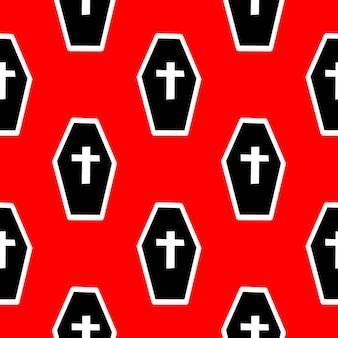 Patrón sin fisuras con ataúdes y cruces en una ilustración de vector de fondo rojo