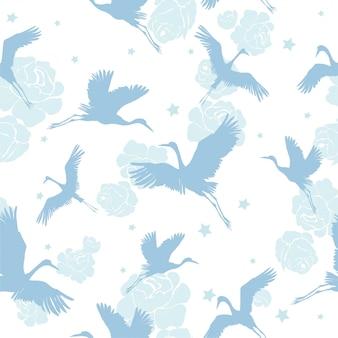 Patrón sin fisuras de aves grúa