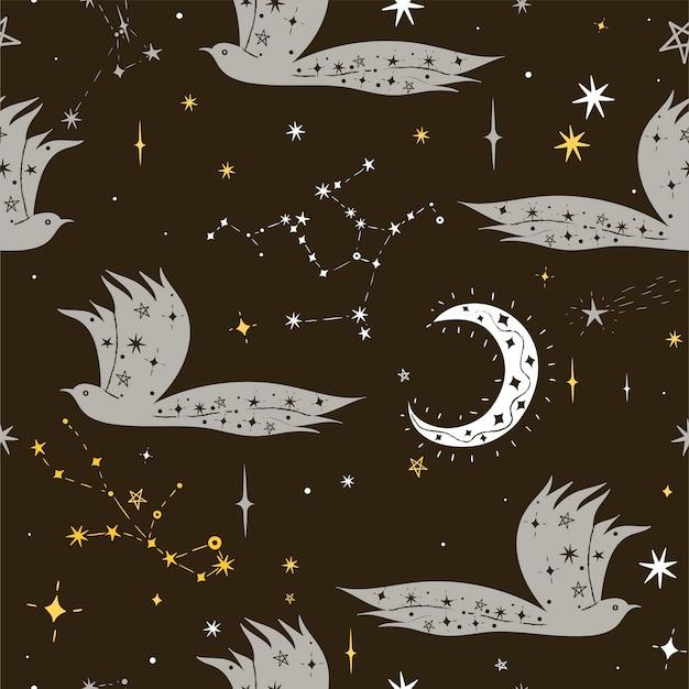 Patrón sin fisuras de aves nocturnas con estrellas. gráficos vectoriales