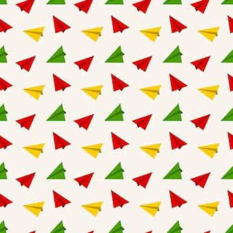 Patrón sin fisuras con avión de papel de colores