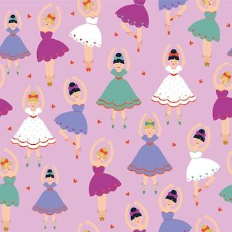 Patrón sin fisuras con bailarinas y corazones sobre fondo rosa.