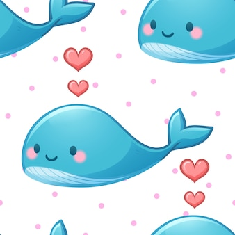 Patrón sin fisuras de ballena azul y corazón rosa