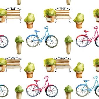 Patrón sin fisuras de bancos de acuarela y bicicletas