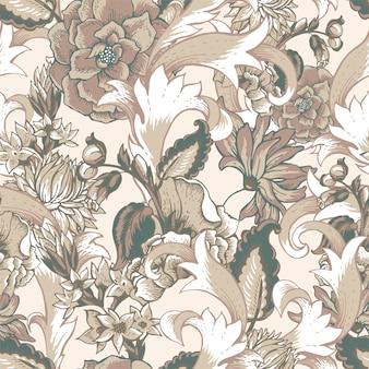 Patrón sin fisuras barroco vintage con remolinos y flores