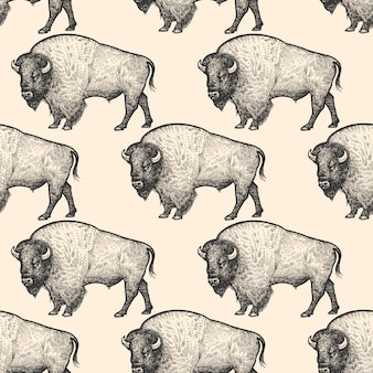 Patrón sin fisuras con el bisonte.
