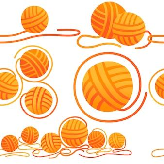 Patrón sin fisuras de bolas de lana artículo de artesanía para la ilustración de vector plano de color naranja de costura sobre fondo blanco.