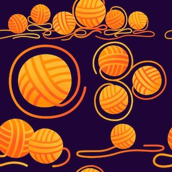 Patrón sin fisuras de bolas de lana artículo de artesanía para la ilustración de vector plano de color naranja de costura sobre fondo oscuro.