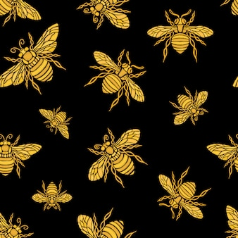 Patrón sin fisuras de bordado dorado de abeja hohey