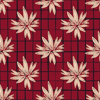 Patrón sin fisuras de brote vintage sobre fondo rojo. papel tapiz floral retro.