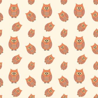 Patrón sin fisuras con búhos divertidos dibujos animados estilo vector illustra