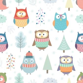 Patrón sin fisuras de buhos de invierno. bosque de navidad