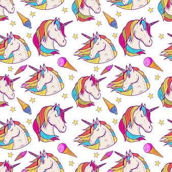Patrón sin fisuras con cabezas de unicornio, estrellas, helados. ilustración