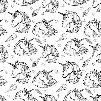 Patrón sin fisuras con cabezas de unicornio y helado. ilustración