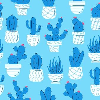 Patrón sin fisuras con cactus azul y suculentas sobre fondo azul estilo escandinavo geométrico