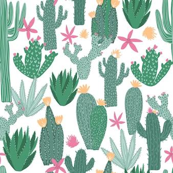 Patrón sin fisuras de cactus en blanco