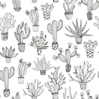 Patrón sin fisuras con cactus dibujado a mano en una olla.