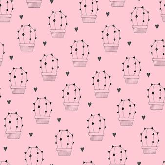 Patrón sin fisuras con cactus de dibujos animados, corazones.