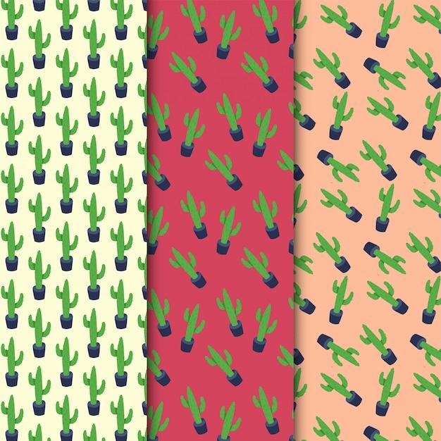 Patrón sin fisuras de cactus en diseño colorido