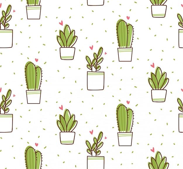 Patrón sin fisuras de cactus en estilo doodle de kawaii