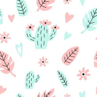 Patrón sin fisuras con cactus, hojas y corazones.