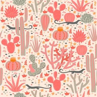 Patrón sin fisuras con cactus y lagartijas.