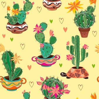 Patrón sin fisuras con cactus en macetas.