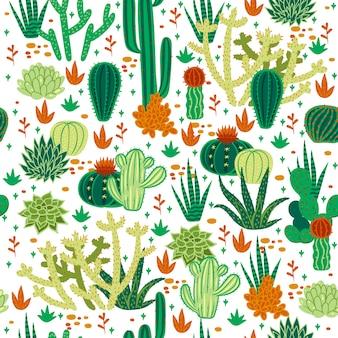 Patrón sin fisuras con cactus sobre un fondo blanco.