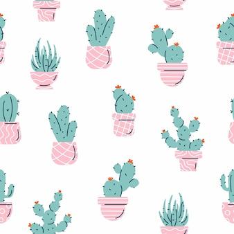 Patrón sin fisuras con cactus verdes y suculentas sobre fondo blanco.
