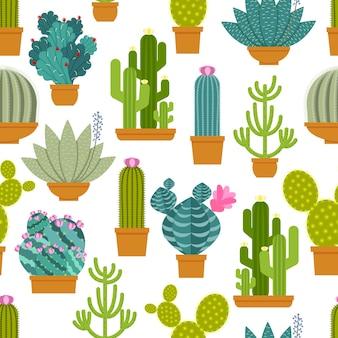 Patrón sin fisuras de cactus.