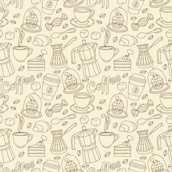 Patrón sin fisuras con café y dulce. fondo café
