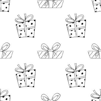 Patrón sin fisuras de caja de regalo para cumpleaños con estilo dibujado a mano