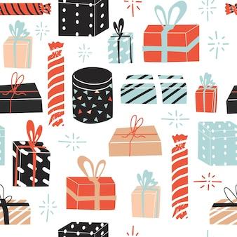 Patrón sin fisuras con cajas presentes para celebrar las fiestas. año nuevo, feliz navidad, feliz cumpleaños, boda, aniversario. estilo plano en la ilustración vectorial. diseño de papel y textil.